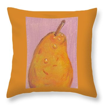 Juicy Pear Throw Pillow by Laurie Morgan