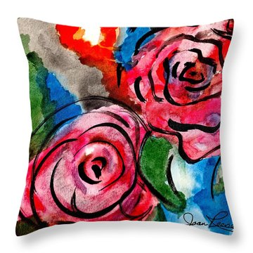 Throw Pillow featuring the painting Juicy Red Roses by Joan Reese