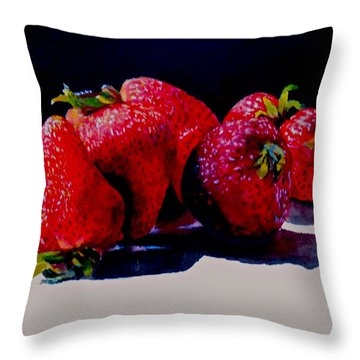 Throw Pillow featuring the painting Juicy Strawberries by Sher Nasser