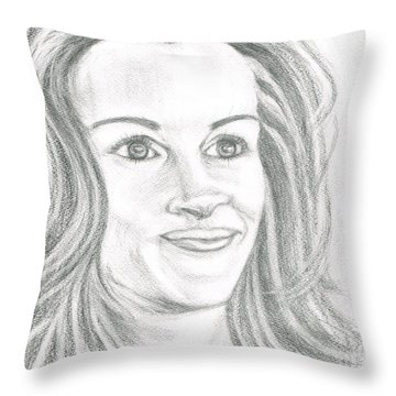 Throw Pillow featuring the drawing Julia Roberts by Teresa White
