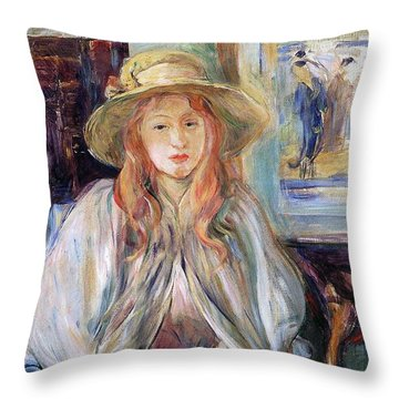 Julie Manet With A Straw Hat Throw Pillow by Berthe Morisot
