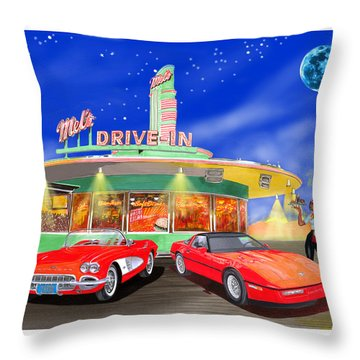 Julies Corvettes Throw Pillow