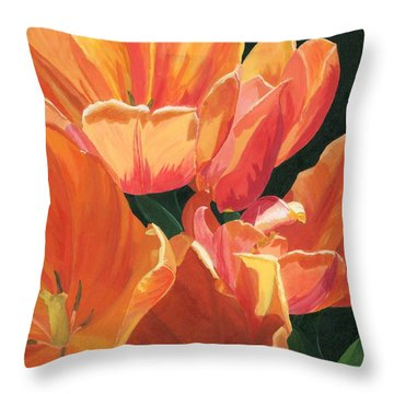 Julie's Tulips Throw Pillow by Lynne Reichhart