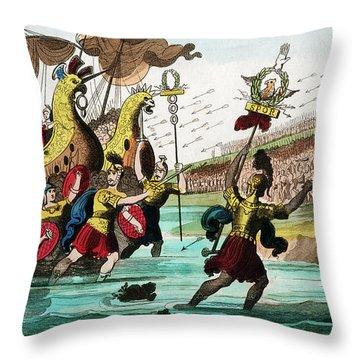 Julius Caesar And Roman Troop Ships Throw Pillow