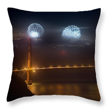 July Fourth Over The Bay Throw Pillow by Daniel Furon