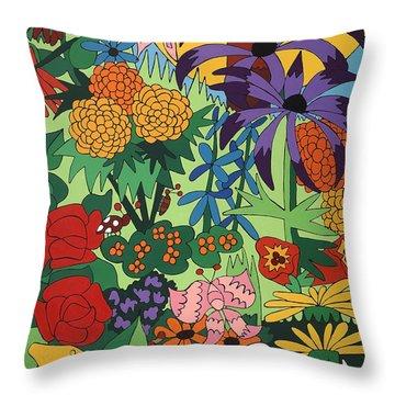 July Garden Throw Pillow by Rojax Art
