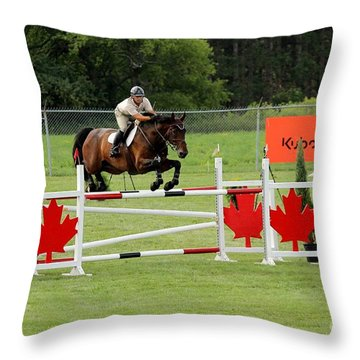 Jumping Canadian Fence Throw Pillow