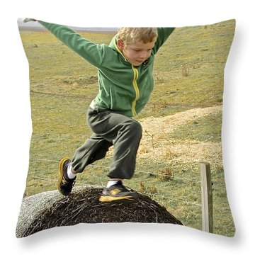 Jumping Haystacks Throw Pillow by Suzanne Oesterling