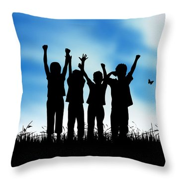 Jumping Kids Throw Pillow by Aged Pixel