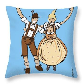 Jumping Oktoberfest Lovers Throw Pillow by Frank Ramspott