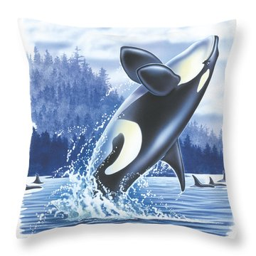 Jumping Orca Throw Pillow by JQ Licensing
