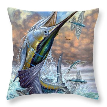 Jumping Sailfish And Flying Fishes Throw Pillow