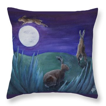 Jumping The Moon Throw Pillow