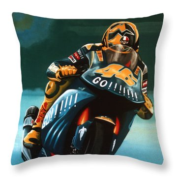 Jumping Valentino Rossi  Throw Pillow