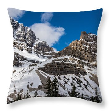 June Sun On Snow-capped Canadian Rockies Throw Pillow