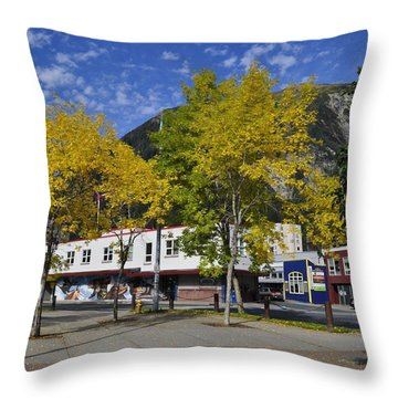 Juneau In The Fall Throw Pillow by Cathy Mahnke
