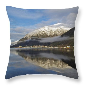 Juneau In Winter Throw Pillow by Cathy Mahnke