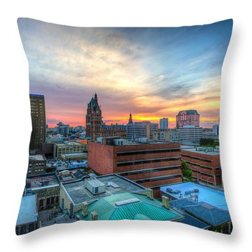 Juneau Town Sunset Throw Pillow by Andrew Slater