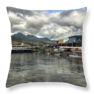 Juneau's Hangar On The Wharf Throw Pillow