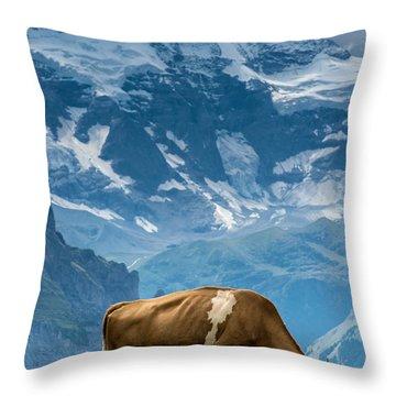 Jungfrau Cow - Grindelwald - Switzerland Throw Pillow