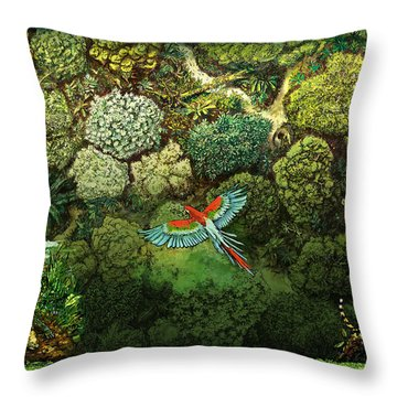Jungle Animals Framed Throw Pillow