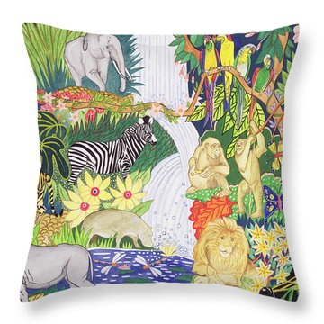 Jungle Animals Wc Throw Pillow