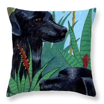 Jungle Dogs Throw Pillow