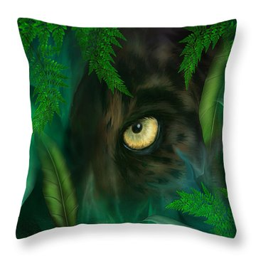 Jungle Eyes - Panther Throw Pillow by Carol Cavalaris