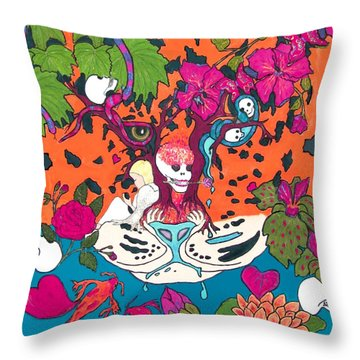 Throw Pillow featuring the digital art Jungle Fever 5 by Stephanie Grant