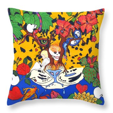 Throw Pillow featuring the painting Jungle Fever by Stephanie Grant