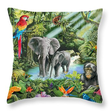 Jungle Throw Pillow by Mark Gregory
