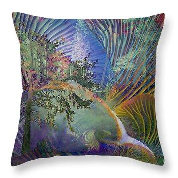 Throw Pillow featuring the digital art Jungle Mushrooms by Ursula Freer