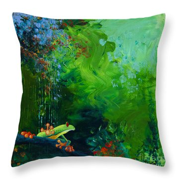 Jungle Rains I Throw Pillow by Tracy L Teeter