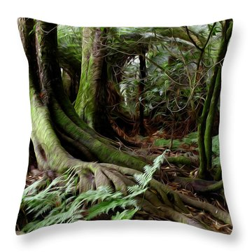 Jungle Trunks1 Throw Pillow by Les Cunliffe