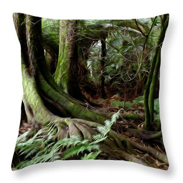 Jungle Trunks3 Throw Pillow by Les Cunliffe