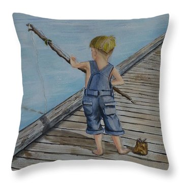 Juniors Amazing Fishing Pole Throw Pillow by Kelly Mills