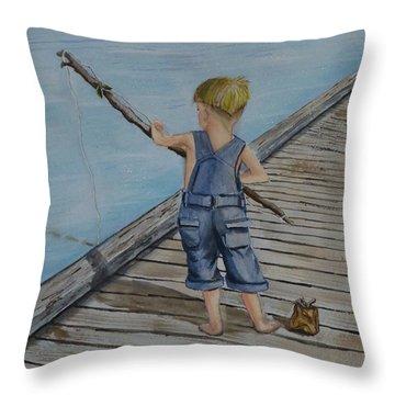 Juniors Amazing Fishing Pole Throw Pillow