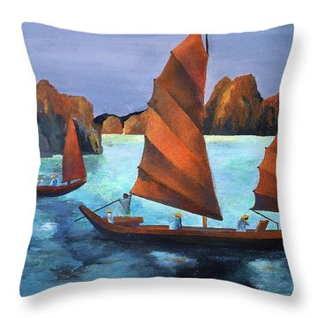 Junks In The Descending Dragon Bay Throw Pillow