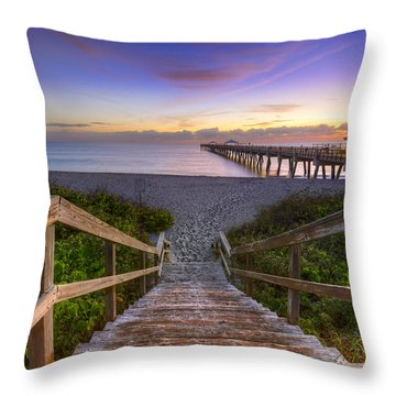Juno Beach   Throw Pillow by Debra and Dave Vanderlaan