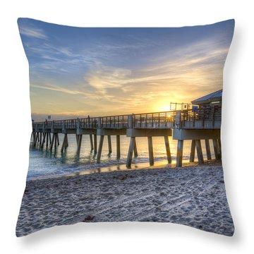 Juno Beach Pier At Dawn Throw Pillow by Debra and Dave Vanderlaan