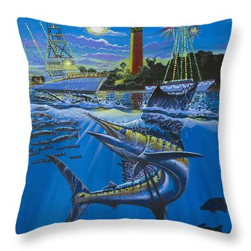 Jupiter Boat Parade Throw Pillow by Carey Chen