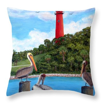 Jupiter Inlet Pelicans Throw Pillow