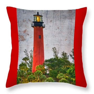 Throw Pillow featuring the photograph Jupiter Lighthouse by Debra and Dave Vanderlaan