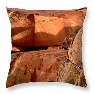 Navajo Sandstone Formation Kanarraville Utah Throw Pillow by Deborah Moen