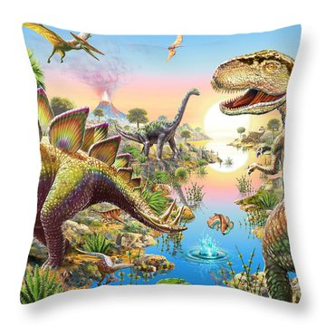 Jurassic River Throw Pillow