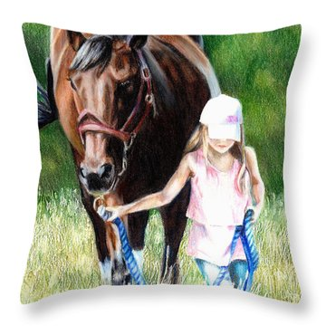 Just A Girl And Her Horse Throw Pillow by Shana Rowe Jackson