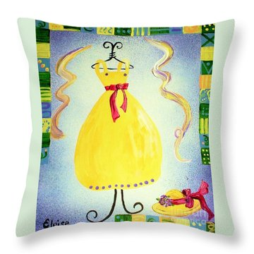 Throw Pillow featuring the painting Just A Simple Hat And Dress by Eloise Schneider