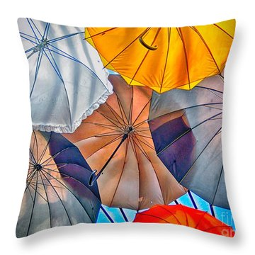 Just Ambrellas Throw Pillow by Nicola Fiscarelli