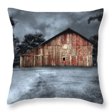 Night Time Barn Throw Pillow