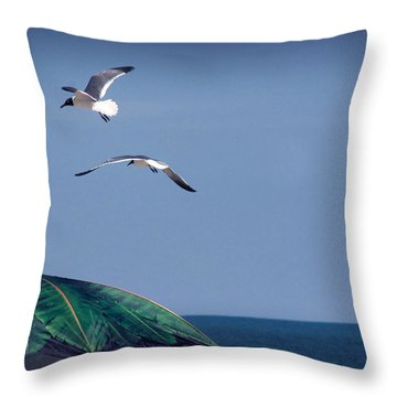 Throw Pillow featuring the photograph Just Another Day At The Beach by Phil Mancuso